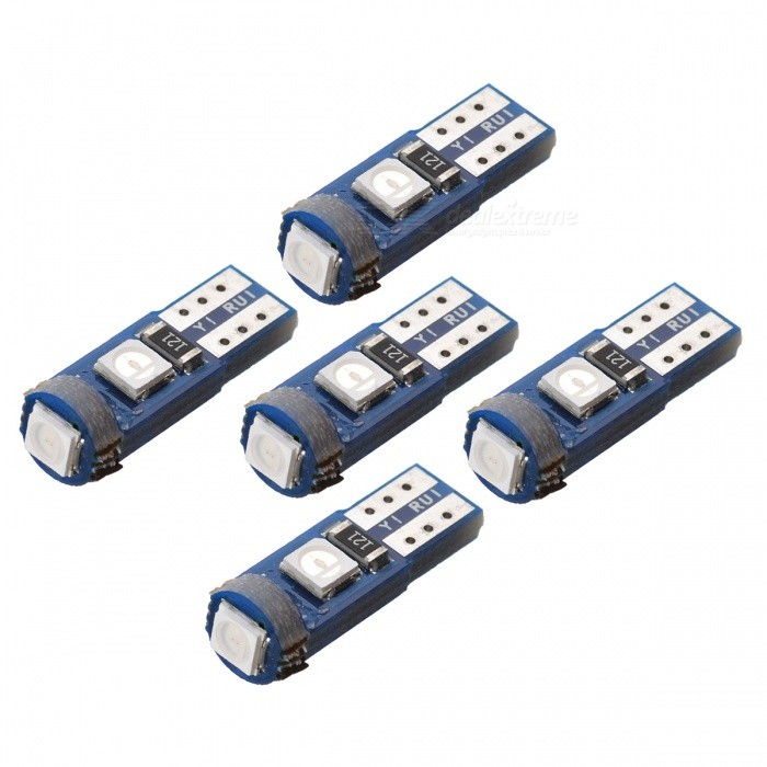 JRLED T5 1W Blue Light 3-SMD 3030 LED Indicator Light (5PCS)Decorative Lights / Strip<br>Color BINBlueModelT5 LEDQuantity5 DX.PCM.Model.AttributeModel.UnitMaterialGlass fiber board +LEDForm  ColorBlueEmitter TypeOthers,3030 SMDChip BrandEpistarTotal Emitters3Color TemperatureN/A DX.PCM.Model.AttributeModel.UnitWavelength460 DX.PCM.Model.AttributeModel.UnitRate VoltageDC12VPower1WTheoretical Lumens60 DX.PCM.Model.AttributeModel.UnitActual Lumens40 DX.PCM.Model.AttributeModel.UnitWater-proofNoApplicationIndicator lampCertificationCE RoHSPacking List5 X T5 LED Lights<br>