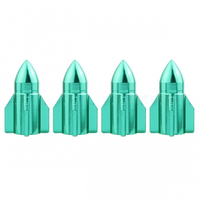 MZ Rocket Aluminum Car Tire Valve Stem Caps - Green (4 PCS)