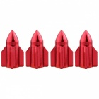MZ Rocket Aluminum Car Tire Valve Stem Caps - Red (4 PCS)
