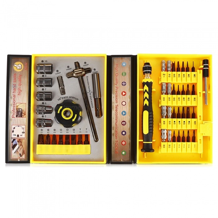 AC-36  47-in-1 Multi-Function Screwdriver SetScrewdriver, Screwdriver Set<br>Form  ColorBlack + YellowModelAC-36Quantity1 setMaterialS2 steelScrew Head TypeAll-in-OneScrew DriverTorx: T3 / T4 / T5 / T6 / T7 / T25 / T30;<br> Hex: H0.9 / H1.5 / H2.0 / H3.0;<br> Flathead: 1.0 / 2.0 / 3.0 / 5.0 / 6.0;<br> Cross: 1.0 / 1.5 / 2.0 / 3.5;<br> Spanner: 2.6;<br> Triangle: 2.0;<br> Tri-wing: 2.0;<br> Pentalobe: 0.8;<br> Dot: 1.5;<br> Phillips: PH1 / PH2 / PH3;Packing List1 x Jack28 x S2 approved heads1 x Adjustable lengthened pole1 x Multi-purpose post1 x Marble1 x Soft handle13 x Sleeves1 x Palm wrench<br>