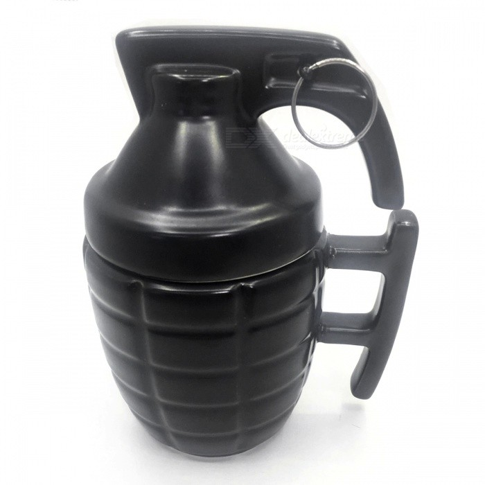Creative Grenade Shape Ceramic Cup Mug - Black