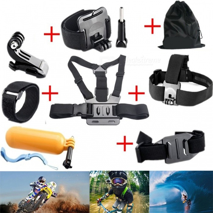 Chest Head Strap, Floating Bobber Mount for Sport Camera - BlackOther GoPro Accessories<br>Form  ColorBlackQuantity1 DX.PCM.Model.AttributeModel.UnitMaterialPlasticShade Of ColorBlackPacking List1 x Chest Strap1 x Head Strap1 x Wrist Strap1 x Wi-Fi Strap1 x Flaoty Bobber1 x Bag1 x J hook (No camera and Wi-fi Remote)<br>