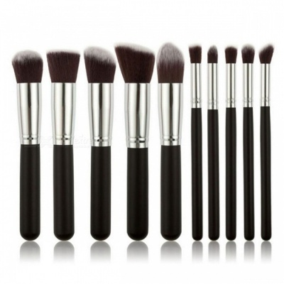 Cosmetic Makeup Brushes Set - Black (10PCS)