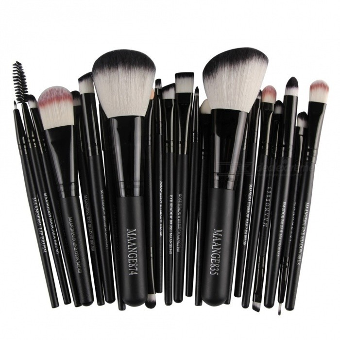 MAANGE 22Pcs Cosmetic Foundation Eyebrow Lip Make-Up Brush Set - BlackMake-up Brushes<br>Form  ColorBlackMaterialGoat Hair, Synthetic Hair, NylonQuantity1 DX.PCM.Model.AttributeModel.UnitShade Of ColorBlackHandle materialWoodBrush head materialNylon fiberPacking List22 x Brushes<br>