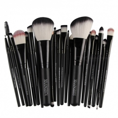 MAANGE 22Pcs Cosmetic Foundation Eyebrow Lip Make-Up Brush Set - Black