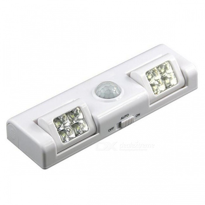 P-TOP 8-LED Wireless Motion Sensor Light for Night Light - WhiteLED Nightlights<br>Form  ColorWhiteMaterialPlastic + ABSQuantity1 DX.PCM.Model.AttributeModel.UnitPower5WRated VoltageOthers,5 DX.PCM.Model.AttributeModel.UnitConnector TypeOthers,/Color BINWhiteEmitter TypeLEDTotal Emitters8Actual Lumens80-100 DX.PCM.Model.AttributeModel.UnitDimmableNoBeam Angle120 DX.PCM.Model.AttributeModel.UnitInstallation TypeWall MountPacking List1 x Motion Sensor Light<br>