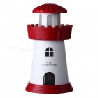 USB Mini Lighthouse Style Zvlhčovač Creative Night Light - červený