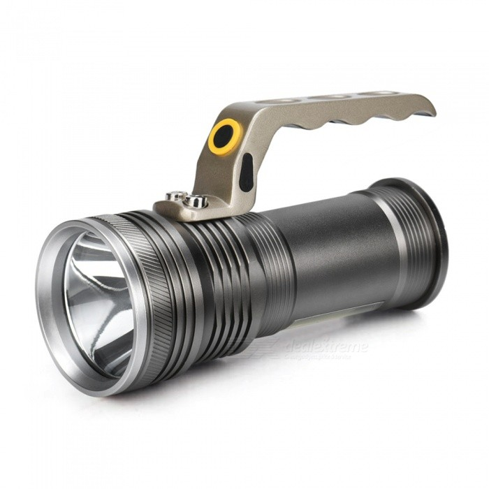 Handheld Ultrabright LED Long Beam Range Aluminum Alloy Flashlight18650 Flashlights<br>Form  ColorSilver Grey + ChampagneBrandOthers,N/AQuantity1 piecesMaterialAluminium alloyOther FeaturesWaterproof,Rechargeable,TacticalEmitter BrandCreeLED TypeXM-L2Emitter BINT6Number of Emitters2Color BINRed,WhiteWorking Voltage   3.7 VPower Supply18650Current3400 mAOutput(lumens)201-500Theoretical Lumens350 lumensActual Lumens300 lumensRuntime(hours)4.1 and aboveRuntime16 hourNumber of Modes3Mode ArrangementHi,Low,SOSMode MemoryNoSwitch TypeClicky SwitchSwitch LocationSideLensGlassReflectorPlastic SmoothBeam Range250-350 mStrap/ClipNoForm  ColorSilver Grey + ChampagnePacking List1 x Flashlight<br>