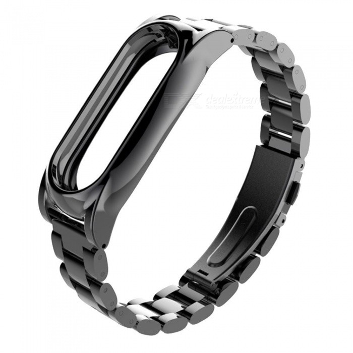 Miimall Metal Stainless Steel Watch Strap for Xiaomi Miband 2 - Black