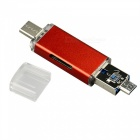 Multifunktions-3-in-1 USB-A-Micro Typ-C TF SD Kartenleser-Rot
