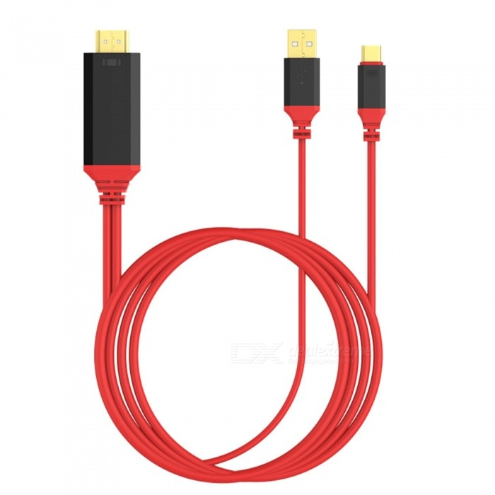 Dayspirit 3-in-1 USB 3.1 Type-C to HDMI UHD Cable - RedLaptop/Tablet Cable&amp;Adapters<br>Form  ColorRedQuantity1 DX.PCM.Model.AttributeModel.UnitShade Of ColorRedMaterialABSInterfaceUSB 3.0,Others,Type-C / HDMIPacking List1 x Type-C USB-C to HDMI 4k Cable<br>