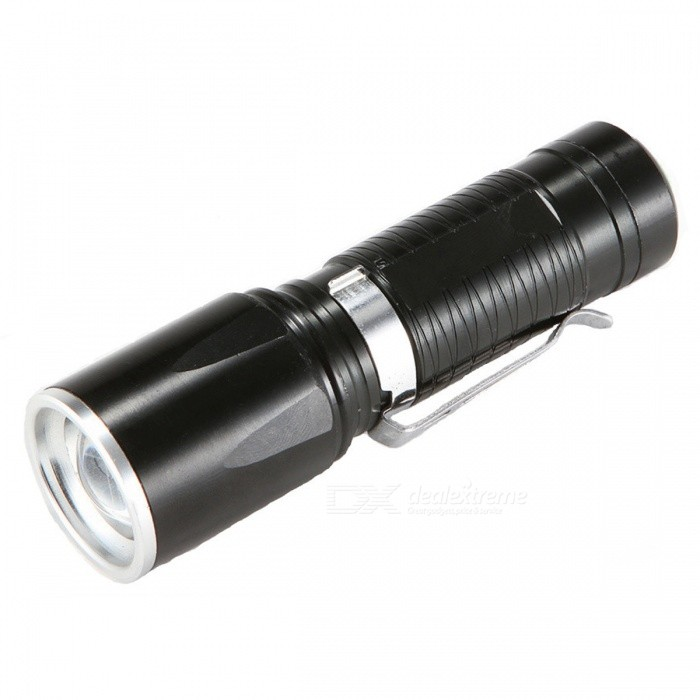 SPO Rechargeable 5-Mode Strong Light Zooming Flashlight - Black