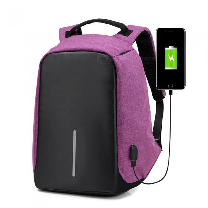Multi-functional Travel Student Backpack w/ USB Charging Port - PurpleForm  ColorPurpleBrandOthers,Others,N/AModelN/AQuantity1 DX.PCM.Model.AttributeModel.UnitMaterialCanvasTypeHiking &amp; CampingGear Capacity23 DX.PCM.Model.AttributeModel.UnitCapacity Range20L~40LFrame TypeInternalRaincover includedNoBest UseClimbing,Family &amp; car camping,Travel,CyclingTypeHiking DaypacksPacking List1 x Backpack<br>