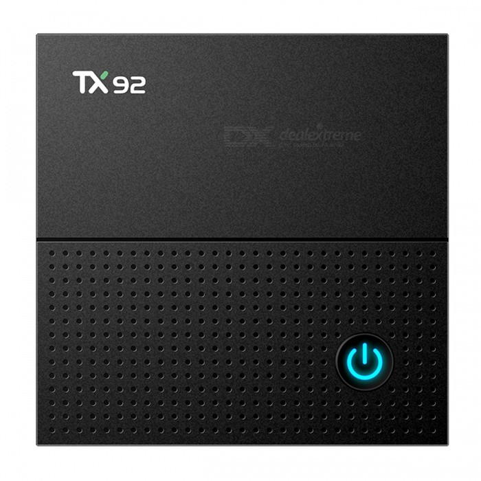 TX92 4K TV Box Amlogic S912 Android 7.1 2GB 16GB BT 4.1 - EU PlugSmart TV Players<br>Form  ColorBlackBuilt-in Memory / RAM2GBStorage16GBPower AdapterEU PlugModelTX92Quantity1 DX.PCM.Model.AttributeModel.UnitMaterialABSShade Of ColorBlackOperating SystemOthers,Android 7.1ChipsetAmlogic S912CPUOthers,Cortex A53Processor Frequency2.0GHzGPUARM Mali-T820MP3Menu LanguageEnglishMax Extended Capacity128GBSupports Card TypeMicroSD (TF)Wi-Fi2.4GHZ/5.8GHZ 802.11a/b/g/n /acBluetooth VersionOthers,Bluetooth V4.13G FunctionYesWireless Keyboard/Mouse2.4Audio FormatsOthers,MP3OGGWAVWMAVideo FormatsOthers,H.265H.264AVIMKVMP4RMVBRMM4VMPEG4Audio CodecsDTS,AC3,FLACVideo CodecsOthers,H.265H.264H.263HD MPEG4Picture FormatsOthers,JPEGGIFBMPPNGTIFFSubtitle FormatsMicroDVD [.sub],SubRip [.srt],Sub Station Alpha [.ssa],Sami [.smi]idx+subPGSOutput Resolution1080PHDMI2.0Power Supply5V 2APacking List1 x TV Box1 x Power Adapter1 x Remote Control1 x HDMI Cable 1 x User Manual<br>