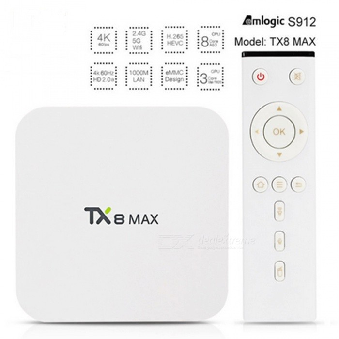 TX8 TV Box Android 6.0 Amlogic S912 Set Top Box w/ 3GB RAM 16GB ROM - UK PlugSmart TV Players<br>Form  ColorWhite + MulticolorBuilt-in Memory / RAM3GBStorage16GBPower AdapterUK PlugQuantity1 setMaterialABSShade Of ColorWhiteOperating SystemAndroid 6.0ChipsetAmlogic S912CPUOthers,Cortex-A53Processor Frequency1.5GHzGPUARM Mali-T820MP3 GPU up to 750MHzMenu LanguageEnglishMax Extended Capacity32GBSupports Card TypeMicroSD (TF)Wi-Fi802.11 b / g / n / acBluetooth VersionBluetooth V4.03G FunctionYesWireless Keyboard/Mouse2.4GHzAudio FormatsOthers,AACAPEFLACMP3OGGWAVWMAVideo FormatsOthers,3GP4KAVIDIVXFLVH.264H.265M4VMKVMPEG2MPEG4PMPRMRMVBVC-1VOBWMVAudio CodecsDTS,AC3,FLACVideo CodecsOthers,H.265HD AVC / VC-1HD MPEG1 / 2/4RealVideo8 / 9/10RM / RMVBXvid / DivX3 / 4/5/6Picture FormatsOthers,BMPGIFJPEGPNGTIFFSubtitle FormatsMicroDVD [.sub],SubRip [.srt],Sub Station Alpha [.ssa],Sami [.smi]idx+subPGSOutput Resolution1080PHDMI2.0Power Supply5V 2APacking List1 x TX8 Mini TV box1 x Power Adapter1 x Remote Controller1 x HD Cable1 x User Manual<br>