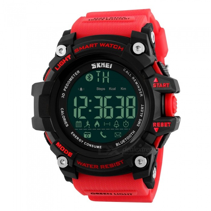 SKMEI 1227 50m Waterproof Digital Smart Sports Watch - RedSport Watches<br>Form  ColorRedModel1227Quantity1 DX.PCM.Model.AttributeModel.UnitShade Of ColorRedCasing MaterialABSWristband MaterialPUSuitable forAdultsGenderUnisexStyleWrist WatchTypeSports watchesDisplayDigitalBacklightGreen lightMovementDigitalDisplay Format12/24 hour time formatWater ResistantWater Resistant 5 ATM or 50 m. Suitable for swimming, white water rafting, non-snorkeling water related work, and fishing.Dial Diameter5.4 DX.PCM.Model.AttributeModel.UnitDial Thickness1.8 DX.PCM.Model.AttributeModel.UnitWristband Length25.5 DX.PCM.Model.AttributeModel.UnitBand Width2.4 DX.PCM.Model.AttributeModel.UnitBattery1 x CR2450Other FeaturesSupporting: Android Andn Iphone IOS SystemPacking List1 x Watch<br>