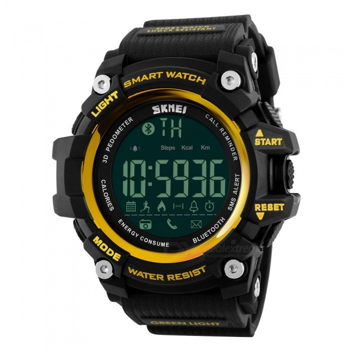 SKMEI 1227 50m Waterproof Digital Smart Sports Watch - GoldenSport Watches<br>Form  ColorGoldenModel1227Quantity1 DX.PCM.Model.AttributeModel.UnitShade Of ColorGoldCasing MaterialABSWristband MaterialPUSuitable forAdultsGenderUnisexStyleWrist WatchTypeSports watchesDisplayDigitalBacklightGreen lightMovementDigitalDisplay Format12/24 hour time formatWater ResistantWater Resistant 5 ATM or 50 m. Suitable for swimming, white water rafting, non-snorkeling water related work, and fishing.Dial Diameter5.4 DX.PCM.Model.AttributeModel.UnitDial Thickness1.8 DX.PCM.Model.AttributeModel.UnitWristband Length25.5 DX.PCM.Model.AttributeModel.UnitBand Width2.4 DX.PCM.Model.AttributeModel.UnitBattery1 x CR2450Other FeaturesSupporting: Android Andn Iphone IOS SystemPacking List1 x Watch<br>