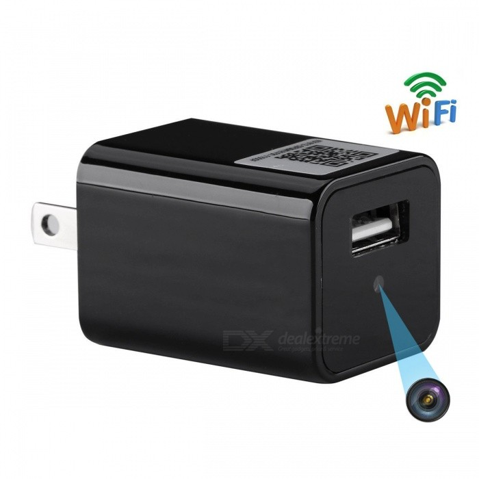 Wi-Fi USB Wall Charger with Camera - Black (US Plug)Mini Cameras<br>Form  ColorWIFI (US PLUG)Shade Of ColorBlackMaterialPlastic &amp; MetalQuantity1 DX.PCM.Model.AttributeModel.UnitImage SensorCMOSAnti-ShakeNoFocal Distance3.6 DX.PCM.Model.AttributeModel.UnitFocusing Range&gt;50cmEffective Pixels1920*1080ImagesJPEGStill Image Resolution1920*1080VideoAVIVideo Resolution1920*1080Video Frame Rate30Cycle RecordYesISONoExposure CompensationNoSupports Card TypeTFSupports Max. Capacity32 DX.PCM.Model.AttributeModel.UnitLCD ScreenNoBattery Measured Capacity 0 DX.PCM.Model.AttributeModel.UnitNominal Capacity0 DX.PCM.Model.AttributeModel.UnitBattery included or notNoPacking List1 x Wall Charger Camera1 x SD card reader1 x User Manual1 x Reset thimble<br>