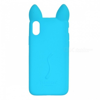 Cute Protective Cat Ear Style Silicone Back Case for IPHONE X - Blue