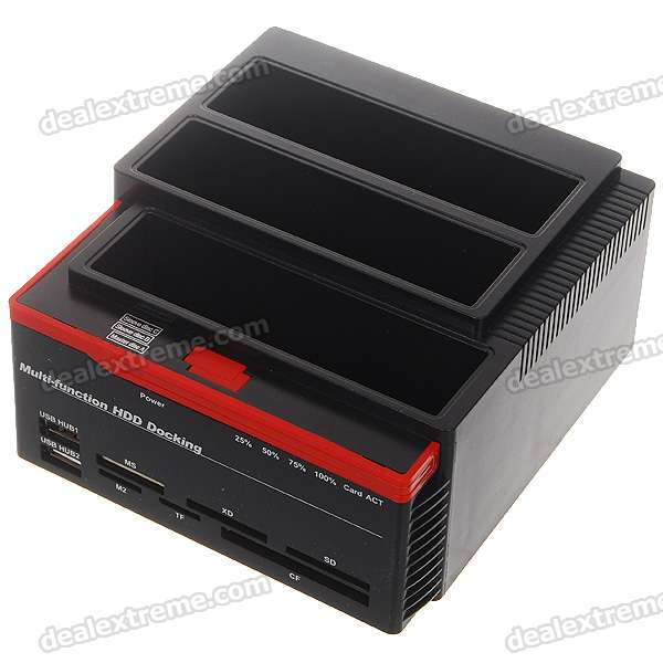 "Triple 2.5""/3.5"" SATA HDD USB 2.0 Vertical Dock with Card Reader + USB Hub"
