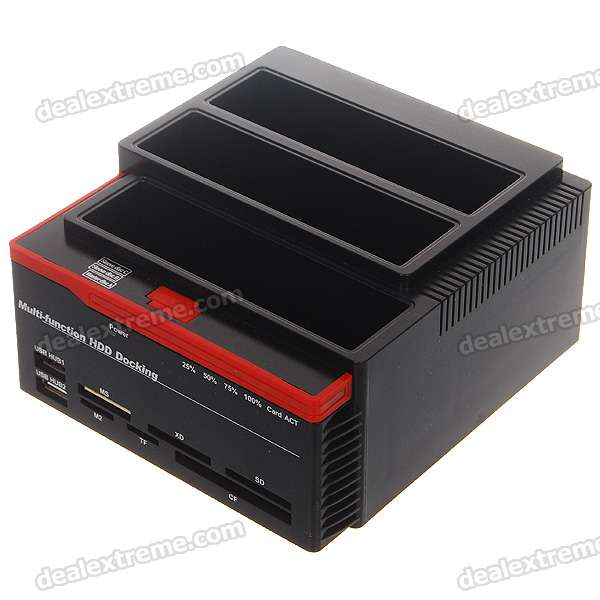 "2.5""/3.5"" Dual SATA + 1*IDE HDD USB 2.0 Vertical Dock with Card Reader + USB Hub"