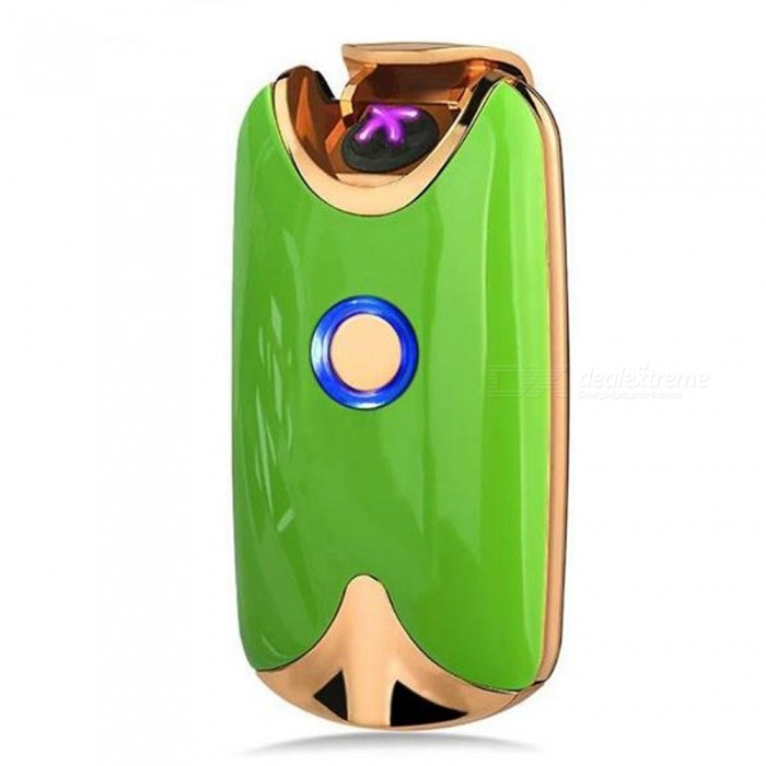 SPO Creative Dual Arc USB Rechargeable Cigarette Lighter - GreenOther Lighters<br>Form  ColorGreenMaterialZinc alloyQuantity1 piecesShade Of ColorGreenTypeUSBWindproofYesPower SupplyLithium batteryCharging Time1-2 hourPacking List1 x Rechargeable Lighter<br>