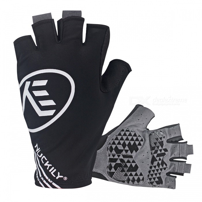 NUCKILY Outdoor Riding Anti Vibration Half-Finger Gloves - Black/XLGloves<br>Form  ColorBlackSizeXLModelPC04Quantity1 DX.PCM.Model.AttributeModel.UnitMaterialLycra/Microfiber Leather/GEL Palm padsTypeHalf-Finger GlovesSuitable forAdultsGenderUnisexPalm Girth9.2-10 DX.PCM.Model.AttributeModel.UnitBest UseCycling,Mountain Cycling,Recreational Cycling,Road Cycling,Bike commuting &amp; touringPacking List1 x Pairs of half-finger gloves<br>