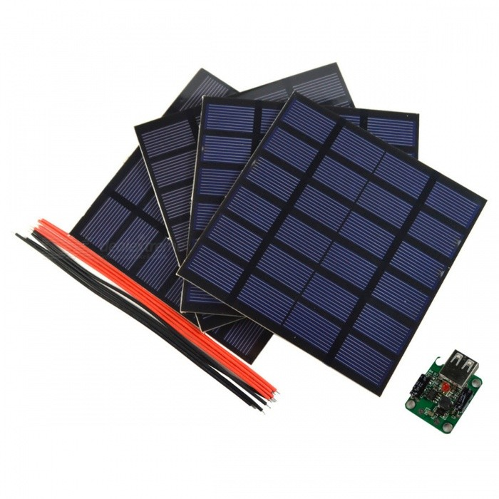 SUNWALK 6W 4x1.5W 6V DIY Solar Panel Kit with Controller, Welding WireSolar Powered Gadgets<br>Form  ColorBlackModelSW01506K4MaterialPolycrystalline silicon PET+EVA Laminated boardQuantity1 DX.PCM.Model.AttributeModel.UnitPower1.5-6 DX.PCM.Model.AttributeModel.UnitWorking Voltage   5-20 DX.PCM.Model.AttributeModel.UnitWorking Current0.25-1.2 DX.PCM.Model.AttributeModel.UnitPacking List4 x Solar panels8 x Welding wires1 x 5V USB solar controller<br>