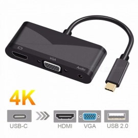 Cwxuan USB 3.1 Type-C to 4K HDMI, VGA, 3.5mm Audio, USB 2.0 Adapter for Macbook, DELL XPS, HP ENVY, ASUS, XIAOMI Laptop