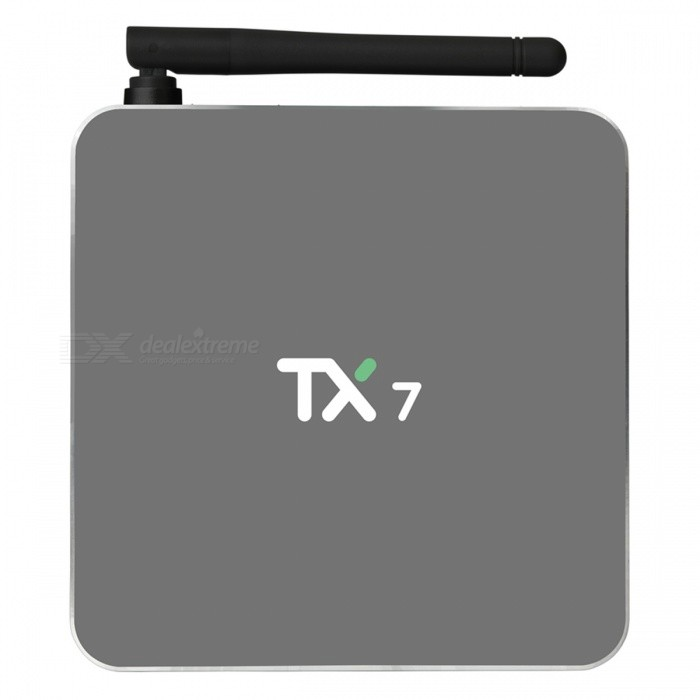 TX7 Android 6.0 Smart TV Box Amlogic S905X Quad-Core 2G/32G - US PlugSmart TV Players<br>Form  ColorBlackBuilt-in Memory / RAM2GBStorage32GBPower AdapterUS PlugModelTX7Quantity1 setMaterialABSShade Of ColorBlackOperating SystemAndroid 6.0ChipsetAmlogic S905XCPUOthers,Cortex-A53Processor Frequency2.0 GHzGPUMali-450 penta-core, up to 750MHz+(DVFS)Menu LanguageEnglishMax Extended Capacity32GBSupports Card TypeMicroSD (TF)Wi-FiWifi802.1.1 b/g/nBluetooth VersionBluetooth V4.03G FunctionYesWireless Keyboard/Mouse2.4GHz + 5.8GHzAudio FormatsOthers,MP1/MP2/MP3/WMA/OGG/AAC/M4A/FLA/CAP/EAM/RRA/WAVVideo FormatsOthers,4K @60fpsH.265AVIH.264VC-1MPEG-2MPEG-4DIVD / DIVXReal8 / 9/10RMR MVB PMP FLV MP4 M4V VOB WMV 3GP MKVAudio CodecsDTS,AC3,FLACVideo CodecsOthers,4KH.265MPEG1 / 2/4H.264HD AVC / VC-1RM / RMVBXvid / DivX3/4/5/6RealVideo8 / 9/10Picture FormatsOthers,JPEG / BMP / GIF / PNG / TIFFSubtitle FormatsMicroDVD [.sub],SubRip [.srt],Sub Station Alpha [.ssa],Sami [.smi]idx+subPGSOutput Resolution1080PHDMI2.0Power Supply5V 2APacking List1 x TX7 TV Box 1 x Power Adapter1 x Remote Controller1 x HDMI Cable1 x English User Manual<br>