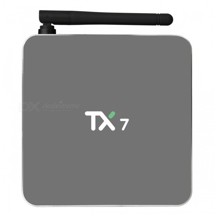 TX7 Android 6.0 Smart TV Box Amlogic S905X Quad Core 32GB - UK PlugSmart TV Players<br>Form  ColorBlackBuilt-in Memory / RAM2GBStorage32GBPower AdapterUK PlugModelTX7Quantity1 setMaterialABSShade Of ColorBlackOperating SystemAndroid 6.0ChipsetAmlogic S905XCPUOthers,Cortex-A53Processor Frequency2.0 GHzGPUMali-450 penta-core, up to 750MHz+(DVFS)Menu LanguageEnglishMax Extended Capacity32GBSupports Card TypeMicroSD (TF)Wi-FiWifi802.1.1 b/g/nBluetooth VersionBluetooth V4.03G FunctionYesWireless Keyboard/Mouse2.4GHz + 5.8GHzAudio FormatsOthers,MP1/MP2/MP3/WMA/OGG/AAC/M4A/FLA/CAP/EAM/RRA/WAVVideo FormatsOthers,4K @60fpsH.265AVIH.264VC-1MPEG-2MPEG-4DIVD / DIVXReal8 / 9/10RMR MVB PMP FLV MP4 M4V VOB WMV 3GP MKVAudio CodecsDTS,AC3,FLACVideo CodecsOthers,4KH.265MPEG1/2/4H.264HD AVC / VC-1RM / RMVBXvid / DivX3/4/5/6RealVideo8/9/10Picture FormatsOthers,JPEG / BMP / GIF / PNG / TIFFSubtitle FormatsMicroDVD [.sub],SubRip [.srt],Sub Station Alpha [.ssa],Sami [.smi]idx+subPGSOutput Resolution1080PHDMI2.0Power Supply5V 2APacking List1 x TX7 TV Box 1 x Power Adapter1 x Remote Controller1 x HDMI Cable1 x English User Manual<br>