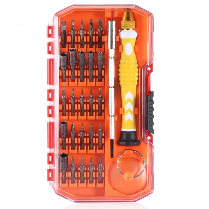 AS-101 29-in-1 Multi-function Combination Disassemble Screwdriver SetScrewdriver, Screwdriver Set<br>Form  ColorYellow + SilverModelAS-101Quantity1 DX.PCM.Model.AttributeModel.UnitMaterialChrome Vanadium Alloy SteelScrew Head TypeAll-in-OnePacking List25 x Batch heads1 x Handle1 x Extension rod1 x Tweezers1 x Suction Cup<br>