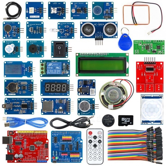 OPEN-SMART Rich UNO R3 Atmega328P Development Board Module KitKits<br>Form  ColorRed + MulticoloredModelN/AQuantity1 setMaterialPCB + Alloy + PlasticEnglish Manual / SpecYesDownload Link   http://drive.google.com/drive/folders/0B6uNNXJ2z4CxbTduWWYzRU13a1U?usp=sharingPacking List1 x Board1 x IO Shield1 x USB cable (50cm) 1 x 40pin female to female cable(20cm)1 x Voltage sensor1 x Ultrasonic sensor1 x Touch sensor1 x Water sensor1 x PIR motion sensor1 x Rocker switch1 x NTC sensor1 x Light sensor1 x Slide Potentiometer1 x Vibration motor1 x Passive buzzer1 x Speaker1 x 8 LED bar1 x Eagle eyes LED1 x I2C 1602 LCD1 x 4-Digit display1 x TF card (256MB)1 x CR1220 button battery (40mAh)1 x Infrared Remote Control (with one CR2032 battery)1 x Micro SD card adapter1 x Infrared emitter<br>