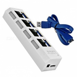 Mini 5Gbps High Speed 4-Port USB 3.0 Hub with On Off Switch - White