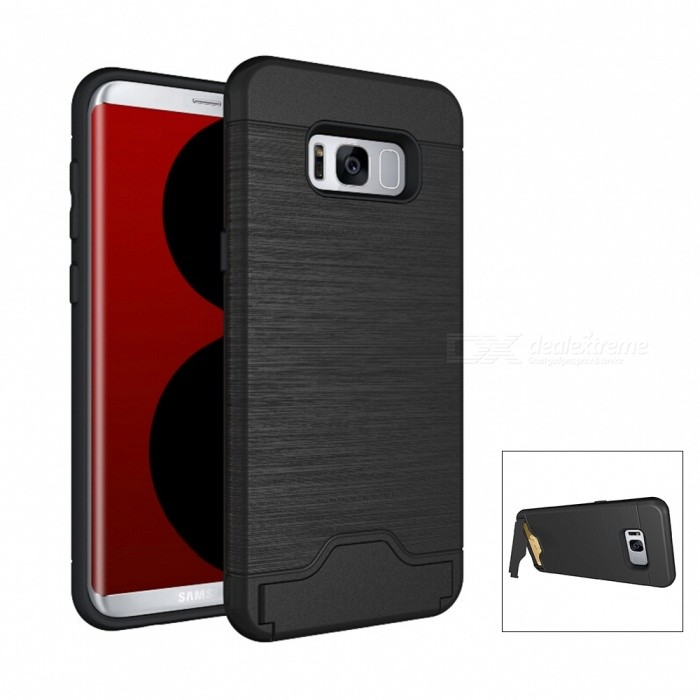Mini Smile PC TPU Back Case with Card Slots for Samsung Galaxy S8 PlusPlastic Cases<br>Form  ColorBlackModelN/AMaterialPC + TPUQuantity1 DX.PCM.Model.AttributeModel.UnitShade Of ColorBlackFeaturesAnti-slip,Dust-proof,Shock-proof,Abrasion resistance,Easy-to-remove,Holder functionCompatible ModelsSamsung Galaxy S8 Plus / S8 EdgePacking List1 x Case<br>