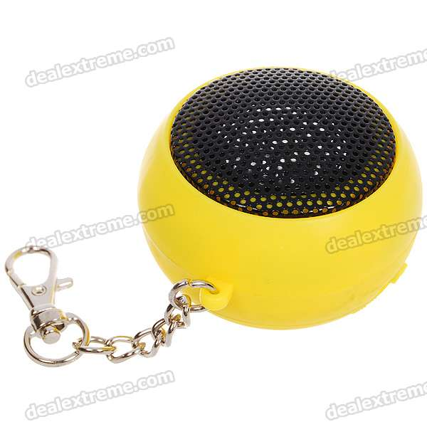 Ultra Mini Hamburger USB Rechargeable Portable Speaker Keychain - Yellow (3.5mm Jack)