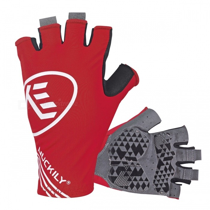 NUCKILY Outdoor Riding Anti Vibration Half-Finger Gloves - Red/XL