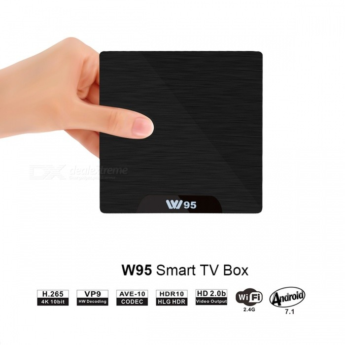W95 S905W Android Smart TV Box Player w/ 1GB RAM, 8GB ROM - EU PlugSmart TV Players<br>Form  ColorBlackBuilt-in Memory / RAM1GBStorage8GBPower AdapterEU PlugModelW95Quantity1 pieceMaterialPlasticShade Of ColorBlackOperating SystemOthers,Android 7.1.2ChipsetAmlogic S905WCPUOthers,ARM Cortex A53 @2GHzProcessor FrequencyMax 2GHzGPUPenta-core Mali-450MP GPU @750MHzMenu LanguageEnglish,French,German,Italian,Spanish,Portuguese,Russian,Japanese,Chinese Simplified,Chinese TraditionalRAM/Memory TypeDDR3 SDRAMMax Extended Capacity64GBSupports Card TypeMicroSD (TF)External HDD2TBWi-Fi802.11 b/g/nBluetooth VersionNo3G FunctionNoWireless Keyboard/Mouse2.4GhzAudio FormatsMP3,WMA,APE,FLAC,OGG,AC3,DTS,AACVideo FormatsRM,RMVB,AVI,DIVX,MKV,MOV,HDMOV,MP4,M4V,PMP,AVC,FLV,VOB,MPG,DAT,MPEG,H.264,MPEG1,MPEG2,MPEG4,WMV,TP,CD,VCD,DVD,BD,H.265Audio CodecsDTS,AC3,LPCM,FLAC,HE-AACVideo CodecsMPEG-1,MPEG-2,MPEG-4,H.264,VC-1,H.265Picture FormatsJPEG,BMP,PNG,GIF,TIFF,jps(3D),mpo(3D)Subtitle FormatsMicroDVD [.sub],SubRip [.srt],Sub Station Alpha [.ssa],Sami [.smi]idx+subPGSOutput Resolution4KHDMI2.0Audio OutputHDMI,AVVideo OutputHDMI,AVUSBUSB 2.0Power Supply100-240VCompatible ApplicationFacebook,Youtube,Skype,Netflix,XBMC,HuluPacking List1 x W95 TV Box1 x HDMI Cable (98+/-2cm)1 x Remote Control1 x Power Adapter (EU Plug)1 x English User Manual<br>