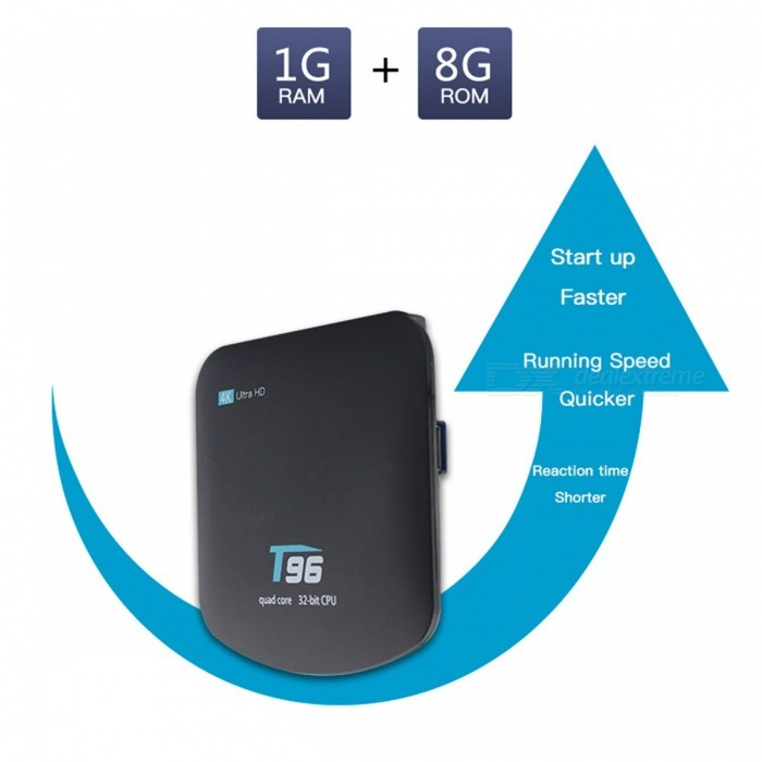 T96 Android TV Box 4K Quad-core Android 5.1 RK3229 1GB 8GB - UK PlugSmart TV Players<br>Form  ColorBlackBuilt-in Memory / RAM1GBStorage8GBPower AdapterUK PlugModelT96Quantity1 setMaterialABSShade Of ColorBlackOperating SystemAndroid 5.1ChipsetRK3229CPUCortex-A7Processor Frequency1.5GHzMenu LanguageEnglishMax Extended Capacity32GBSupports Card TypeMicroSD (TF)Wi-FiWi-Fi 802.11 b / g / nBluetooth VersionNo3G FunctionYesWireless Keyboard/Mouse2.4GAudio FormatsOthers,MP1MP2MP3WMAOGGAACM4AFLACAPEAC3AMRDTSRAWAVVideo FormatsOthers,(4K @ 30fpsH.265AVIH.264VC-1MPEG-2MPEG-4DIVD / DIVXReal8 / 9/10RMRMVBPMPFLVMP4M4V VOBWMV3GPMKVAudio CodecsDTS,AC3,FLACVideo CodecsOthers,4KH.265MPEG1 / 2/4H.264HD AVC / VC-1RM / RMVBXvid / DivX3 / 4/5/6RealVideo8 / 9/10Picture FormatsOthers,JPEG / BMP / GIF / PNG / TIFFSubtitle FormatsMicroDVD [.sub],SubRip [.srt],Sub Station Alpha [.ssa],Sami [.smi]idx+subPGSOutput Resolution1080PHDMIHDMI 2.0Power Supply5V / 2APacking List1 x TV Box1 x Remote 1 x HDMI Cable1 x Power Supply 1 x Manual<br>