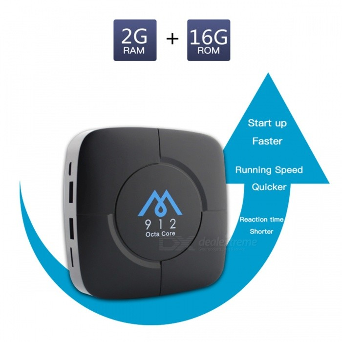 M912 Android 7.1 TV Box Amlogic S912 2GB/16GB WIFI 4K 1080p - US PlugSmart TV Players<br>Form  ColorBlackBuilt-in Memory / RAM2GBStorage16GBPower AdapterUS PlugModelM912Quantity1 DX.PCM.Model.AttributeModel.UnitMaterialABSShade Of ColorBlackOperating SystemOthers,Android7.1ChipsetAmlogic S912CPUOthers,Cortex-A53Processor Frequency2.0GHzGPUMali-T820MP3Menu LanguageEnglishMax Extended Capacity32GBSupports Card TypeMicroSD (TF)Wi-Fi802.11 b / g / nBluetooth VersionBluetooth V4.03G FunctionYesWireless Keyboard/Mouse2.4GAudio FormatsOthers,MP1MP2MP3WMAOGGAACM4AFLACAPEAC3AMRDTSRAWAVVideo FormatsOthers,4K @ 30fpsH.265AVIH.264VC-1MPEG-2MPEG-4DIVD / DIVXReal8 / 9/10RMRMVBPMPFLVMP4M4V VOBWMV3GPMKVAudio CodecsDTS,AC3,FLACVideo CodecsOthers,4KH.265MPEG1 / 2/4H.264HD AVC / VC-1RM / RMVBXvid / DivX3 / 4/5/6RealVideo8 / 9/10Picture FormatsOthers,JPEG / BMP / GIF / PNG / TIFFSubtitle FormatsMicroDVD [.sub],SubRip [.srt],Sub Station Alpha [.ssa],Sami [.smi]idx+subPGSOutput Resolution1080PHDMIHDMI 2.0Power Supply5V / 2APacking List1 x TV Box1 x Remote 1 x HDMI Cable1 x Power Supply 1 x Manual<br>