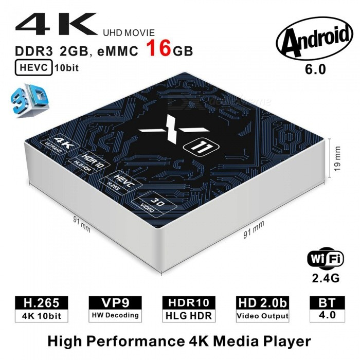 X11 Smart Android TV Box Amlogic S905X Quad-Core 2GB/16GB - EU PlugSmart TV Players<br>Form  ColorSilver + MulticoloredBuilt-in Memory / RAM2GBStorage16GBPower AdapterEU PlugModelX11Quantity1 setMaterialABSShade Of ColorSilverOperating SystemAndroid 6.0ChipsetAmlogic S905XCPUOthers,Cortex-A53Processor Frequency2GHzGPUPenta Core ARM Mali-450 GPU up to 750MHz+(DVFS)Menu LanguageEnglishMax Extended Capacity32GBSupports Card TypeMicroSD (TF)Wi-FiIEEE 802.11 b/g/nBluetooth VersionNo3G FunctionYesWireless Keyboard/Mouse2.4GAudio FormatsOthers,MP1MP2MP3WMAOGGAACM4AFLACAPEAMRRAWAVVideo FormatsOthers,4K @ 30fpsH.265AVIH.264VC-1MPEG-2MPEG-4DIVD / DIVXReal8 / 9/10RMRMVBPMPFLVMP4M4V VOBWMV3GPMKVAudio CodecsDTS,AC3,FLACVideo CodecsOthers,4KH.265MPEG1 / 2/4H.264HD AVC / VC-1RM / RMVBXvid / DivX3 / 4/5/6RealVideo8 / 9/10Picture FormatsOthers,JPEG / BMP / GIF / PNG / TIFFSubtitle FormatsMicroDVD [.sub],SubRip [.srt],Sub Station Alpha [.ssa],Sami [.smi]idx+subPGSOutput Resolution1080PHDMI2.0Power Supply5V / 2APacking List1 x X11 Android TV Box 1 x Power Adapter 1 x HDMI Cable 1 x User Manual 1 x Remote Controller<br>