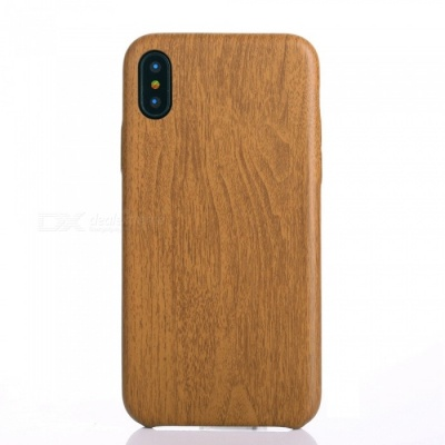 Wood Grain PU Protective Case for IPHONE X - Dark Brown