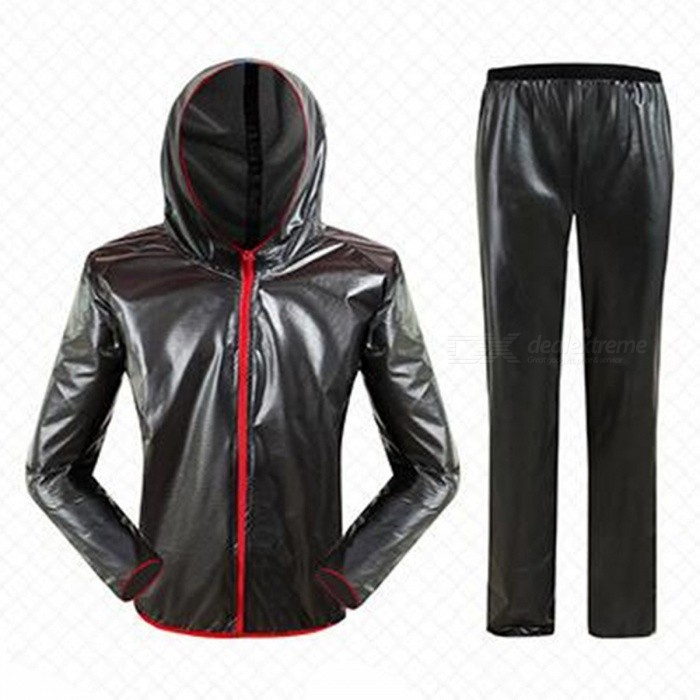 Outdoor Cycling Separated Type Raincoat for Men Women - Black (XXXL)Cycle Clothing<br>Form  ColorBlackSizeXXXLQuantity1 pieceMaterialPolyester + TPUGenderUnisexSeasonsFour SeasonsShoulder Width67 cmChest Girth132 cmSleeve Length87 cmTotal Length80 cmWaist76 cmHip Girth132 cmTotal Length118 cmThigh Girth35 cmCrotch Length36 cmLength Of Hem30 cmSuitable for Height185-195 cmBest UseCycling,Mountain Cycling,Recreational Cycling,Road Cycling,Bike commuting &amp; touringSuitable forAdultsTypeLong Pants,Others,Long separation raincoatPacking List1 x Raincoat1 x Trousers2 x Receive bags<br>