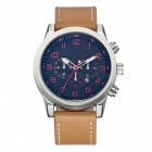 Business Casual Mäns Quartz Watch Leather Watchband w / Kalender