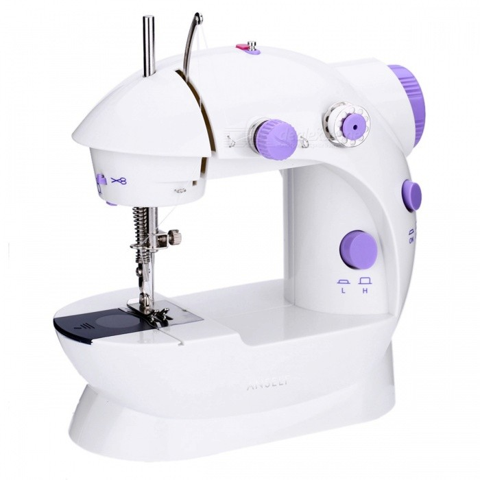 Mini Handheld Sewing Machine Dual Speed Double Thread - White + PurpleLifestyle Gadgets<br>Form  ColorWhite + PurpleMaterialMetalQuantity1 DX.PCM.Model.AttributeModel.UnitPacking List1 x Sewing Machine1 x Foot Pedal1 x Power Adapter1 x Bag of Accessories1 x User Manual (English)<br>