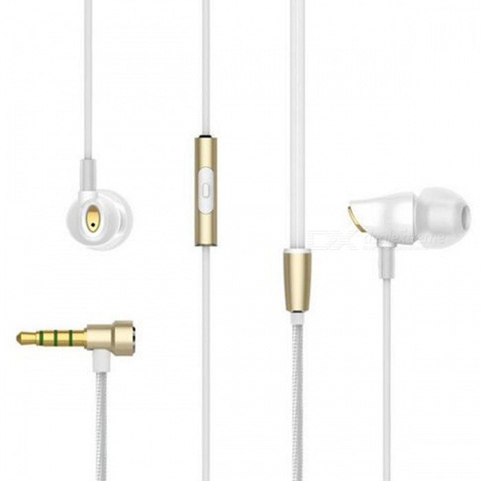 Rock Zircon Stereo 3.5mm Wired Earphone with Microphone - White