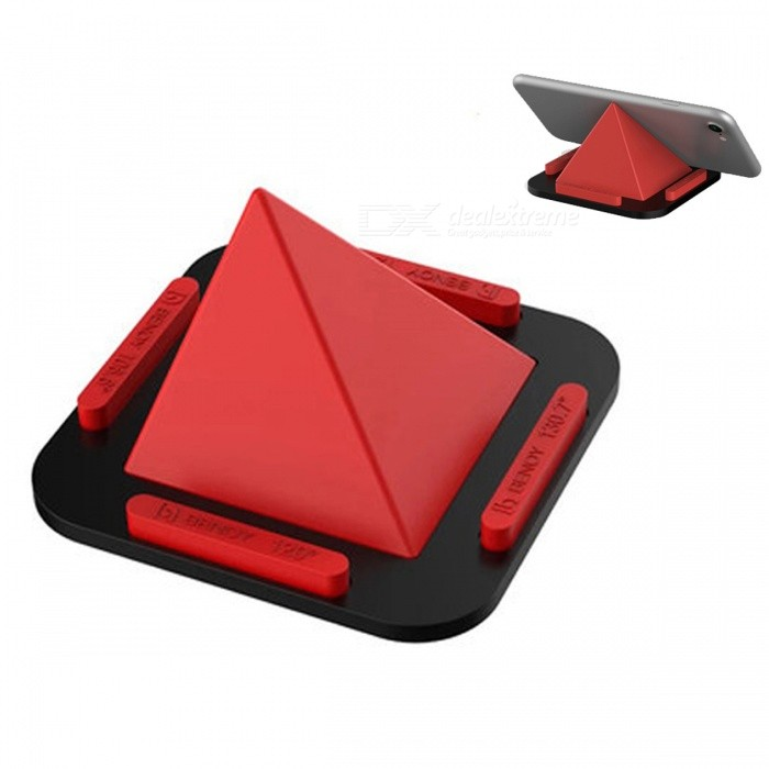 Pyramid Shaped Desktop Phone Holder Stand - RedMounts &amp; Holders<br>Form  ColorRedModelJZT-1MaterialSilica gelQuantity1 DX.PCM.Model.AttributeModel.UnitMount TypeDesktopPacking List1 x Pyramid support<br>