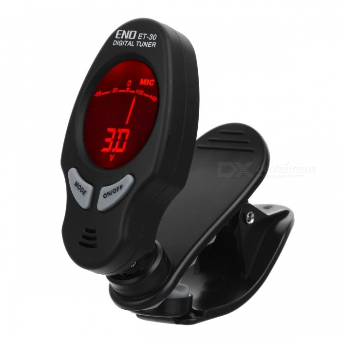 ET-30 Clip-on Digital Tuner with Backlit for Guitar / Bass / ChromaticInstruments Parts<br>Form  ColorBlackModelET-30MaterialPlasticQuantity1 DX.PCM.Model.AttributeModel.UnitShade Of ColorBlackCompatible ModelsChromatic, Guitar, Bass, ViolinOther FeaturesPick up the way: MIC pickup or folder on the instrument pickup; <br>Tuning mode: Auto tuning; <br>Pickup range: 0A-7C; <br>A4 frequency range: 440Hz; <br>Correction error: ± 0.5 sound pointsPacking List1 x Tuner1 x CR2032 button battery<br>