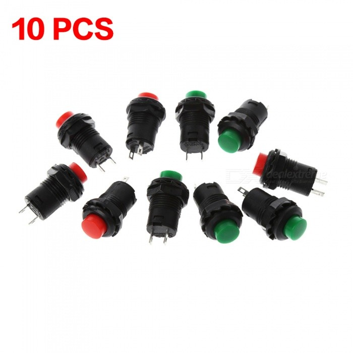 ZHAOYAO 12mm Self Return Momentary Push Button Switch (10 PCS)Switches &amp; Adapters<br>Form  ColorRed + GreenQuantity1 DX.PCM.Model.AttributeModel.UnitMaterialPlastic &amp; MetalPower Range250VMax. Current3AWorking Temperature-30--40 DX.PCM.Model.AttributeModel.UnitPacking List5 x Red Push Button Switches5 x Green Push Button Switches<br>