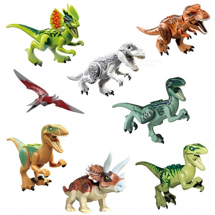 Dinosaurs Figures Toy Jurassic World Assembly Building Blocks - 8PCSOther Toys<br>Form  ColorGreen + Pale YellowModelN/AMaterialPlasticQuantity1 DX.PCM.Model.AttributeModel.UnitSuitable Age 3-4 years,5-7 years,8-11 years,12-15 yearsPacking List8 x Dinosaur Toys<br>